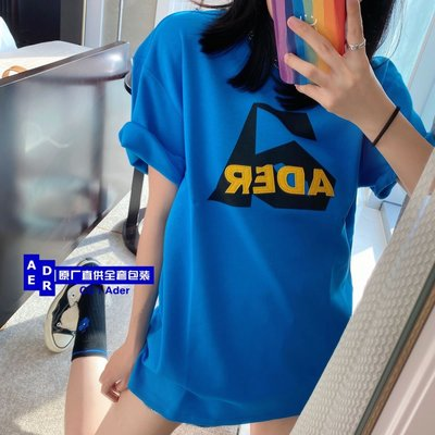 【名創優品】ADER ERROR 藍色Aspect 字母圖案LOGOT恤短袖 ader短袖T恤 質量穩