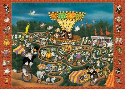 (藝)日本拼圖原裝進口拼圖 1000片小切塊拼圖 達洋貓  馬戲團遊樂園 12-55