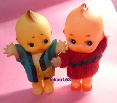日本早期穿紅藍衣服 的Q比娃娃 2點入...