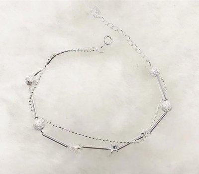 正生銀飾 現貨在台 簡約氣質風 開運手鍊 星星磨砂珠轉運純銀手鍊 雙鏈合一而成