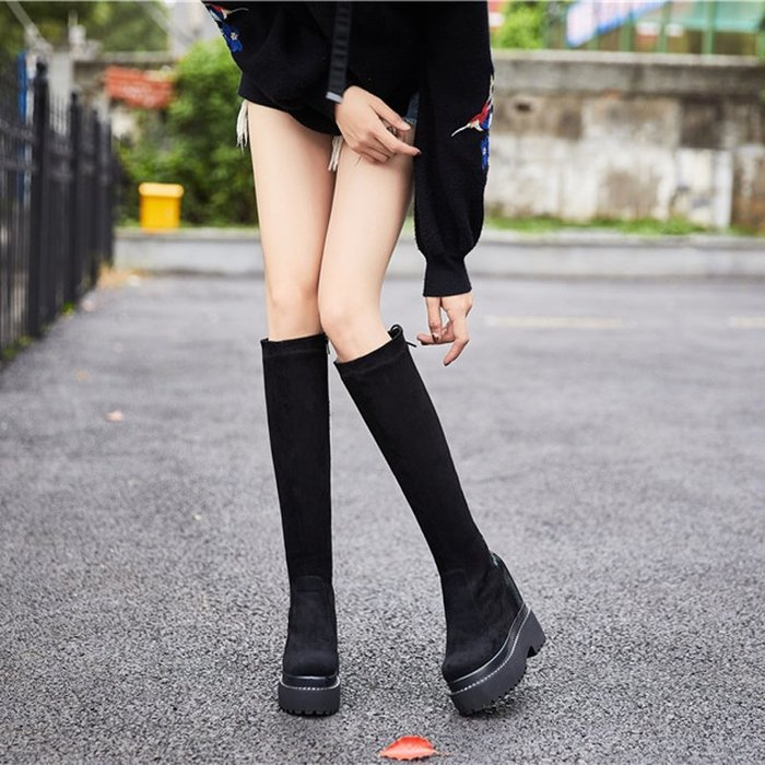 ~Linda~女靴冬內增高厚底高跟12CM高筒靴顯瘦腿豹紋女長靴子馬丁靴