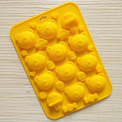 ~水蘋果~ A~125 10連乖乖小熊矽膠蛋糕模可愛小動物巧克力模餅干烘焙模具