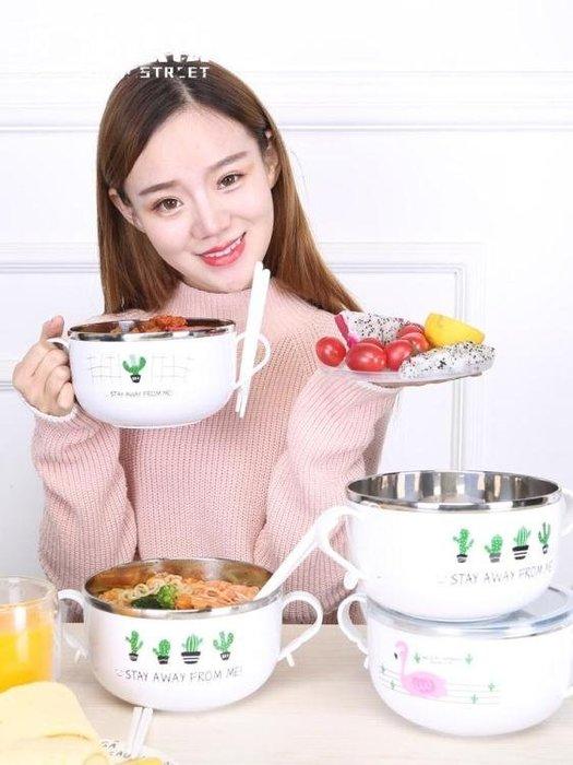 不銹鋼泡面碗大號吃飯碗筷套裝加厚帶蓋學生宿舍便當飯盒面碗