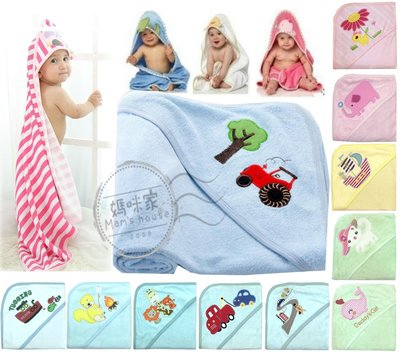 【K046】K46繡花包巾 75*75cm 雙面綿 毛巾 綿布 三角帽 護頭 浴巾 抱被 小被 嬰兒毯 彌月禮 媽咪家