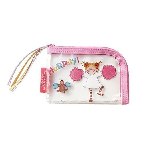日本 可愛插畫小女孩coco防潑水拉鍊收納袋 錢包 卡片收納