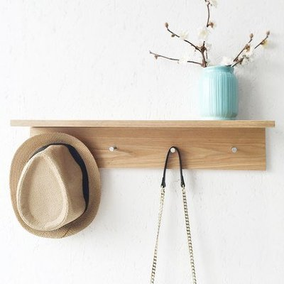 特惠❧實木牆架壁架 簡約現代L型牆上掛鉤置物架 擱板木質架子wy 米米旗艦店