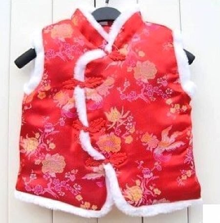 承承媽咪【F13】新年過年女寶寶兒童綢緞喜慶唐裝馬甲背心秋冬棉衣1-4歲 金玉牡丹 紅色