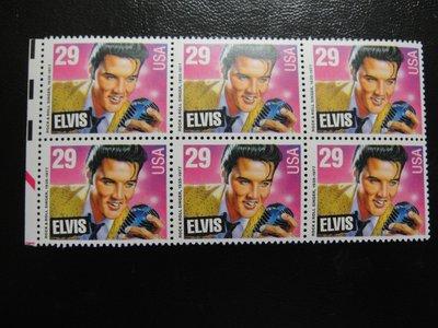 【大三元】美洲郵票-美國郵票-名歌手貓王1977年發行-新票1全六方連~原膠