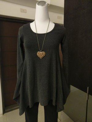 琳達購物中心-實品拍攝-韓國不規則純色收腰圓領套頭長袖衣