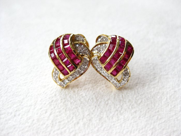 【Texture & Nobleness 低調與奢華】天然紅寶石 配鑲天然真鑽 純手工18k耳墜