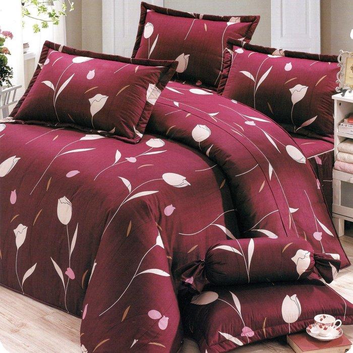 加大雙人床罩組六尺精梳棉-鬱金香-台灣製 Homian 賀眠寢飾