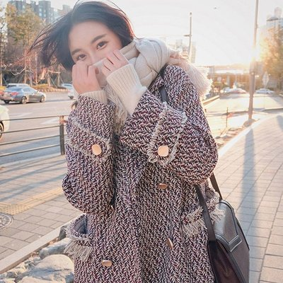 精品風長大衣 讓女人拒絕不了的大衣千鳥格冬款加厚毛呢流蘇大衣 艾爾莎【TAE8073】