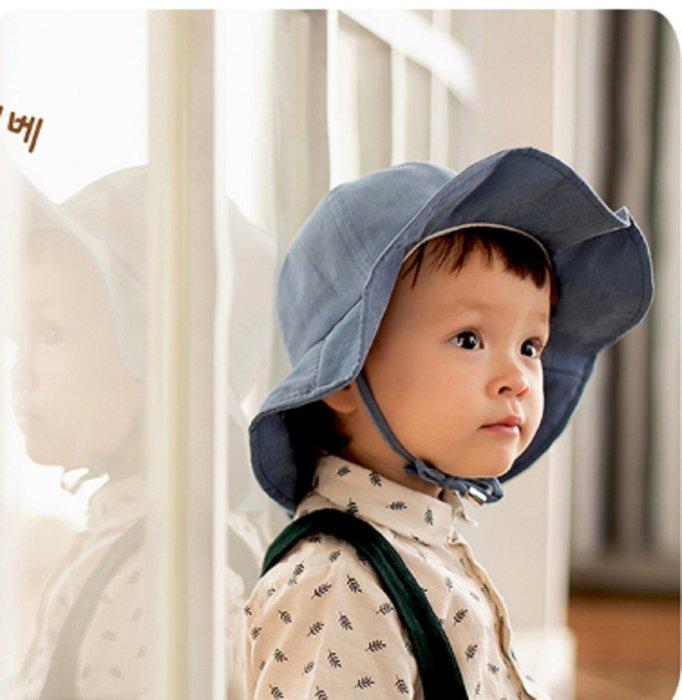 現貨~(8个月-3岁)寶寶韓版簡約休閒盆帽可折疊兒童復古漁夫帽春秋夏季太陽帽女童公主帽(藍色,卡其色,焦糖)