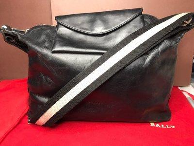『保證真品』BALLY包 二手 小牛皮 經典黑白織帶拉鍊斜背包 肩背包 飛行員包