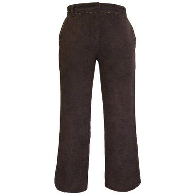 法國品牌Influence De Naf Naf咖啡色仿麂皮縫線造型長褲 36號