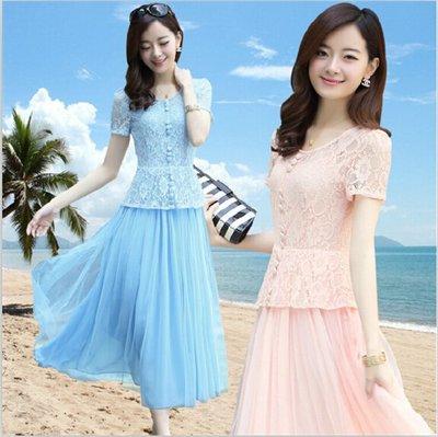 蕾絲洋裝 2019韓版新款夏裝女新款雪紡洋裝氣質修身短袖蕾絲韓版中