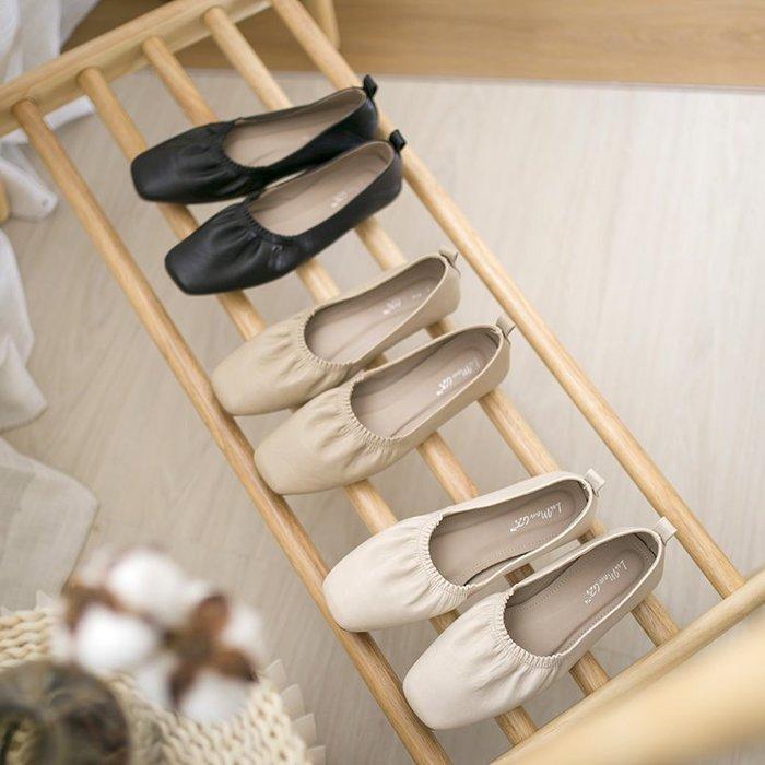 3色 35-39 簡約日系娃娃鞋 舒適軟底奶奶鞋 奶茶色 法式質感包鞋 黑色平底鞋 Sisterxoxo KOREA