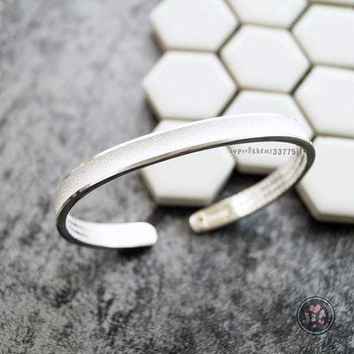 【Jia' s】霧磨砂凹面內刻心經6mm純銀手環手鐲足銀999。正生純銀