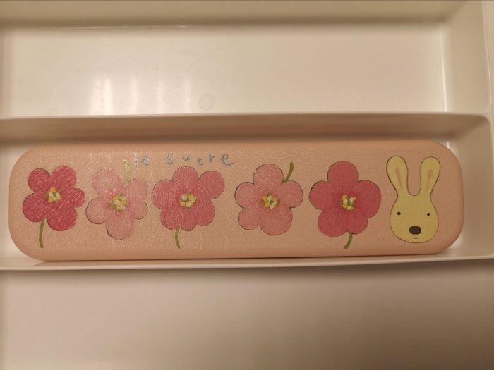 花兒雜貨 le Sucre法國兔粉色花柄筆盒/雜物盒