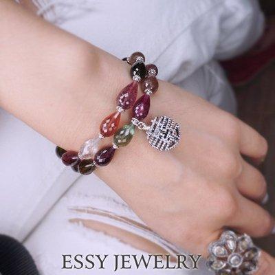 《玥心精品》切面胖水滴【囍事連連/雙圈碧璽】手鍊 Essy Jewelry