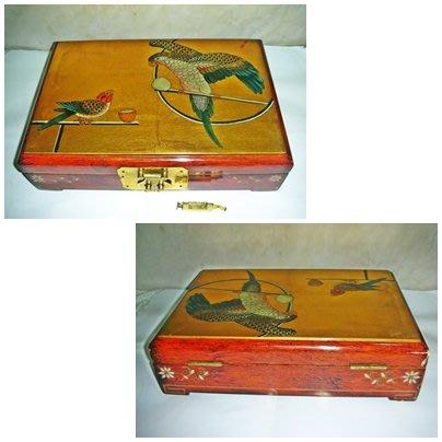 aaL皮1商旋.已稍有年代大型方形精緻木質掀蓋式珠寶盒!--還附一傳統復古型銅質鎖及鑰匙值得擁有!/6倉冰箱側/-P