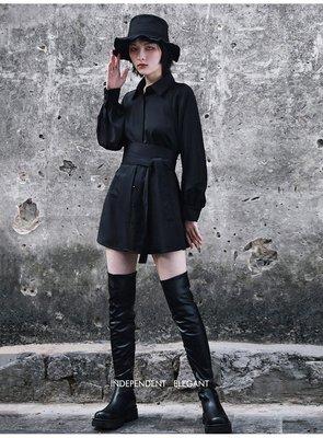 Dark.Q DQ 含腰封 黑色襯衫 連身裙