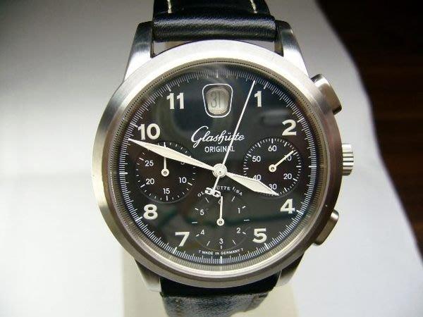 [吉宏精品交流中心]GLASHUTTE 格拉蘇蒂 黑面 不鏽鋼 三眼 計時碼表 男錶(盒單齊全)