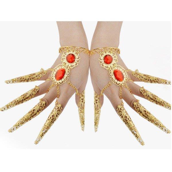 5Cgo【鴿樓】會員限定優惠 42358118487 肚皮舞飾品手鏈手環印度舞指套 千手觀音指甲套舞蹈配飾品 一對