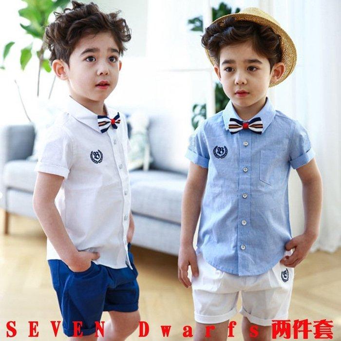 【衣Qbaby】男童禮服畢業典禮學院風短袖時尚白襯衫短褲兩件套(送領結)