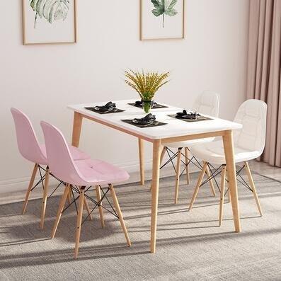 北歐餐桌實木餐桌椅組合小戶型餐廳現代簡約休閒4人長方形飯桌子igo
