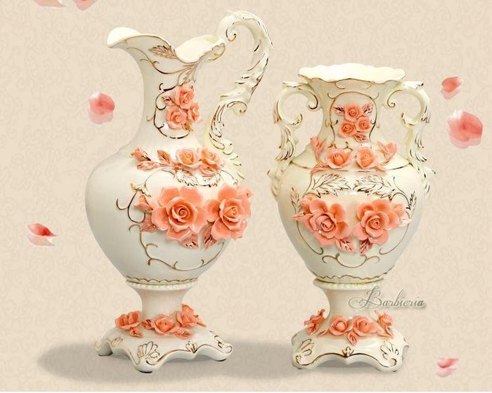 粉紅玫瑰精品屋~時尚浮雕陶瓷花瓶花瓶 皇家工藝品擺件~單耳款