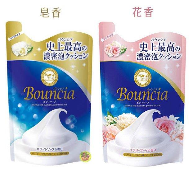 【JPGO】日本製 牛乳石鹼cow 新濃密! 美肌保濕沐浴乳 補充包400ml~皂香#266 /花香#297