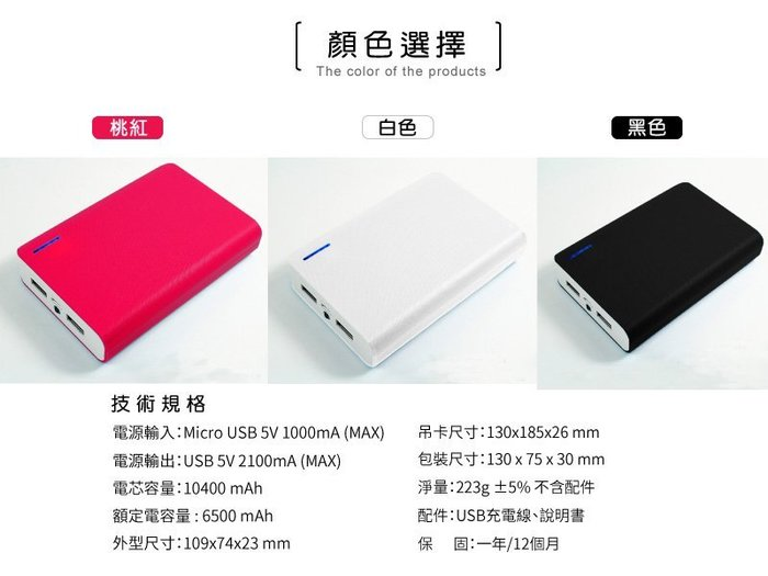 【H20000】HTT 10400mAh 雙USB輸出2.1A急速充電行動電源 HTT-H20000 台灣製造  白色