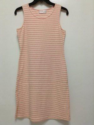 全新JOSEPH & TINA 淡粉和米色條紋休閒洋裝