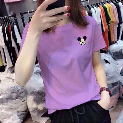 潮ins浪漫氣息紫色純棉上衣2020年新款學生大碼米奇短袖t恤女夏季