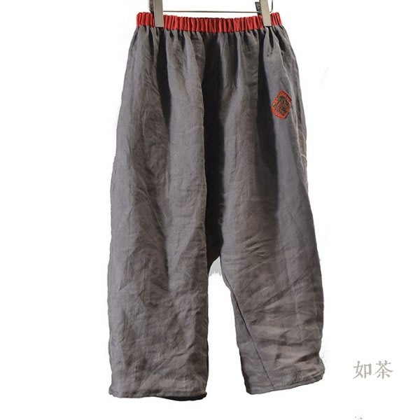 【如茶】超寬鬆苧麻透氣清涼闊腿褲九分褲
