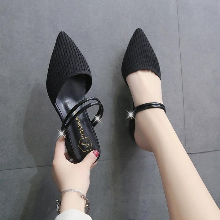 麥麥部落 涼鞋女潮新款春夏網紅潮兩穿尖頭仙女風半拖鞋女外穿單鞋女MB9D8