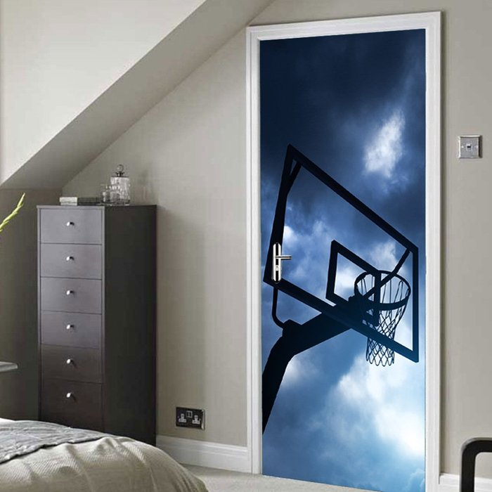 暖暖本舖 灌籃高手 籃球框 籃板球 創意裝飾貼 房間門貼 書櫃壁貼紙 大門造景貼 防水門貼 裝潢貼紙 玄關貼 可訂製尺寸