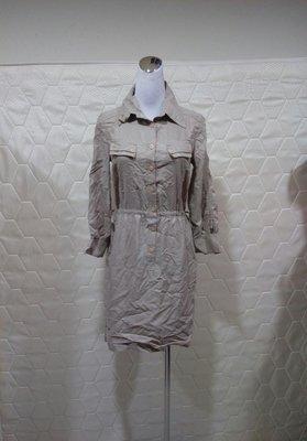 💖思賢&衣櫃💖 卡其色半排釦修身顯瘦連身裙 ( S l Z E:S號 ) #1096 [現貨]