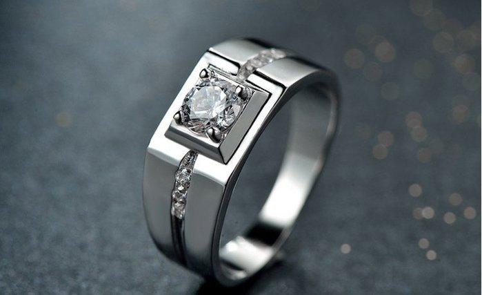 日韓時尚白金男款方形鋯石水鑽可調式開口戒指情人節禮物生日禮物