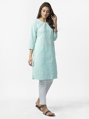 印度舞界 Cotton Slub Printed Knee Length Kurta 庫塔XS