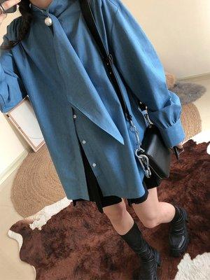CHIC U 春季新款上衣珍珠扣領子飄帶長袖寬松襯衫女-UP