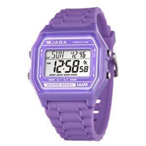 【元電】【JAGA 專賣店】台灣設計 捷卡 M1103-J(紫) 電子錶 大數字 倒數計時 鬧鈴 兩地時間