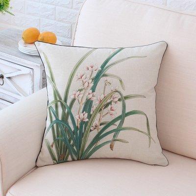 抱枕 靠枕 遐邇復古靠枕新中式抱枕包郵棉麻風沙發靠墊含芯45cm腰枕綠色花朵