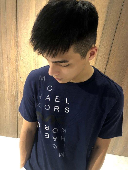 美國百分百【全新真品】Michael Kors 短袖T恤 MK 上衣 T-shirt 深藍色 logo S號 J214