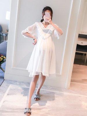 連身裙 寬鬆 孕婦裙子夏時尚款2019夏季新款寬松中長款雪紡上衣孕婦短袖連衣裙