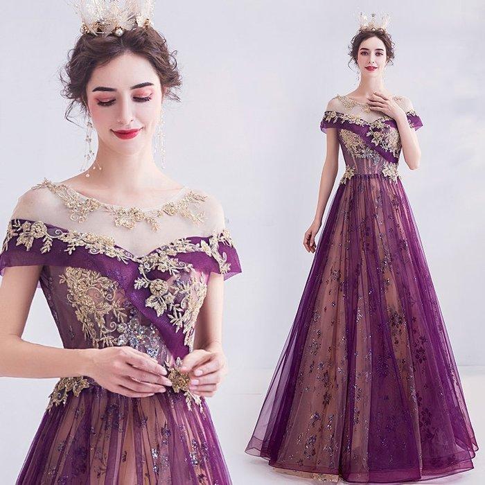 妞妞 婚紗禮服~奢金刺绣紫色生日派對宴會婚纱長禮服~3件免郵