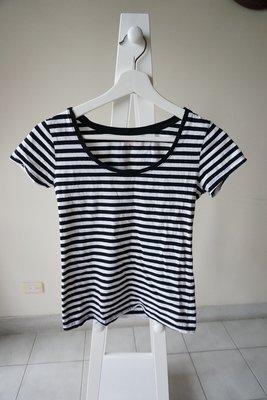轉賣NetLadies黑白條紋圓領短袖上衣 sizeS