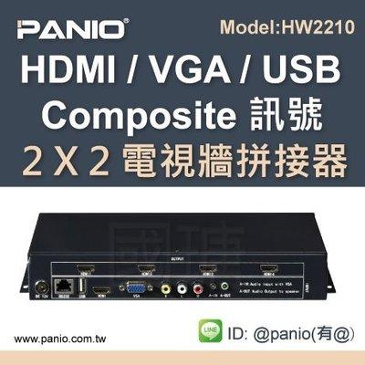 1進4出 多螢幕電視牆拼接控制器HDMI/VGA/USB 介面 《✤PANIO國瑭資訊》HW2210