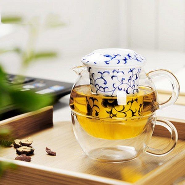 5Cgo【茗道】含稅會員有優惠 520402068358 耐熱玻璃茶具戶外旅行便攜茶具青花瓷一壺一杯快客杯分茶器過濾內膽